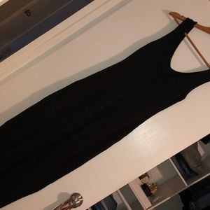 Black ribbed button down maxi dress